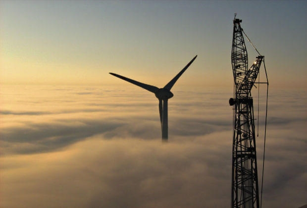 Enercon E-126 Wind Turbine - Above low clouds