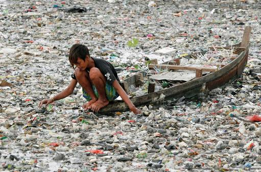 Garbage in Citarum River, West Java - indonesia
