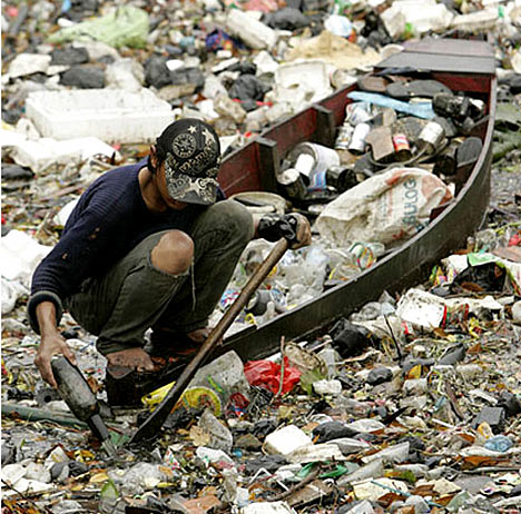 Garbage collection in Citarum River, West Java - indonesia